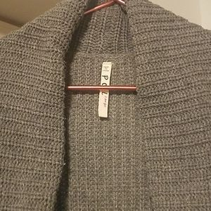 Long gray duster sweater with pockets Large